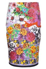 Versace Floral Pencil Skirt - Lyst