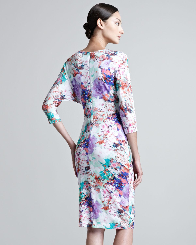 Lyst Escada Jersey Floral Print Dress In Purple