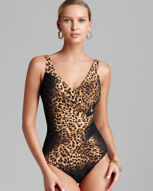 615c90ad2edbe Lyst - Gottex Leopard Print Surplice One Piece Swimsuit in Brown