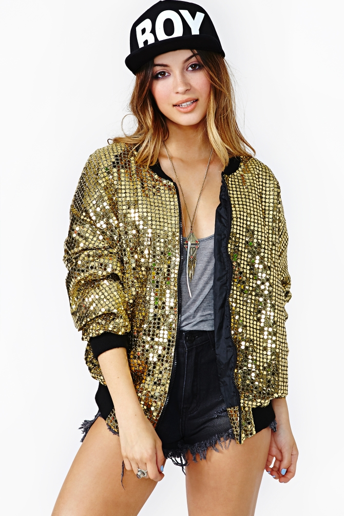 Nasty Gal Get Down Tonight Sequin Bomber Jacket In Gold