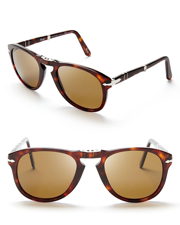 c47f6666cd Lyst - Persol Suprema Folding Polarized Keyhole Sunglasses in Brown ...