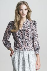 See By Chloé Printed Silk Buttonfront Shirt - Lyst