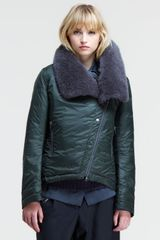 Brunello Cucinelli Nylon Puff Jacket with Cashmere Fur Collar - Lyst