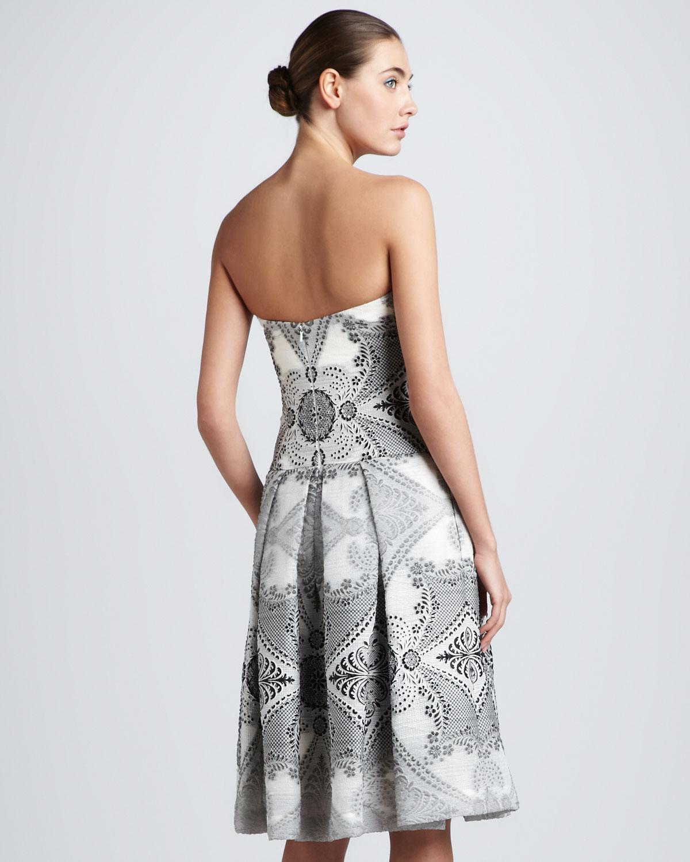 Carolina herrera Strapless Baroque Damask Dress Black/ivory in ...
