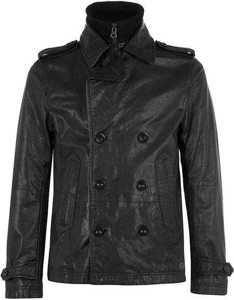 Diesel Double Breasted Leather Jacket In Black For Men