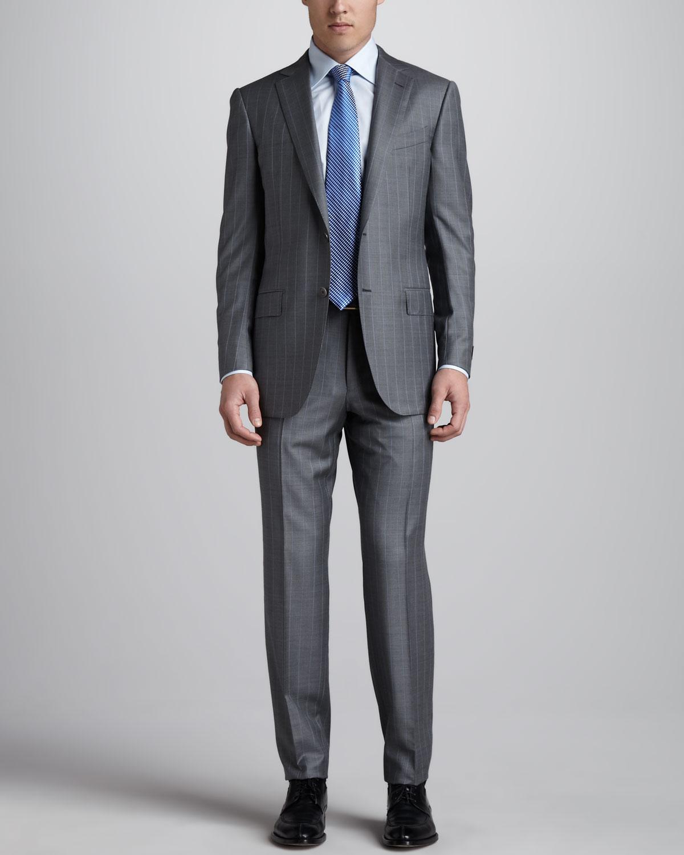 Double Black Label >> Lyst - Ermenegildo Zegna Pinstripe Suit Grayblue in Gray for Men
