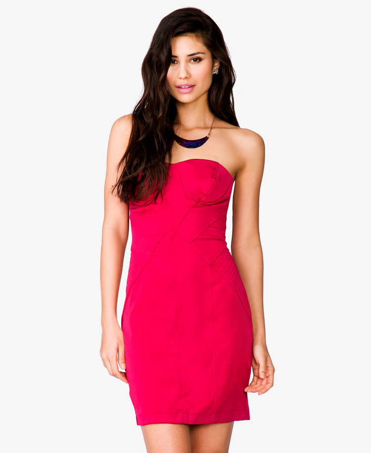 879bd2145 Forever 21 Strapless Bodycon Dress in Pink - Lyst