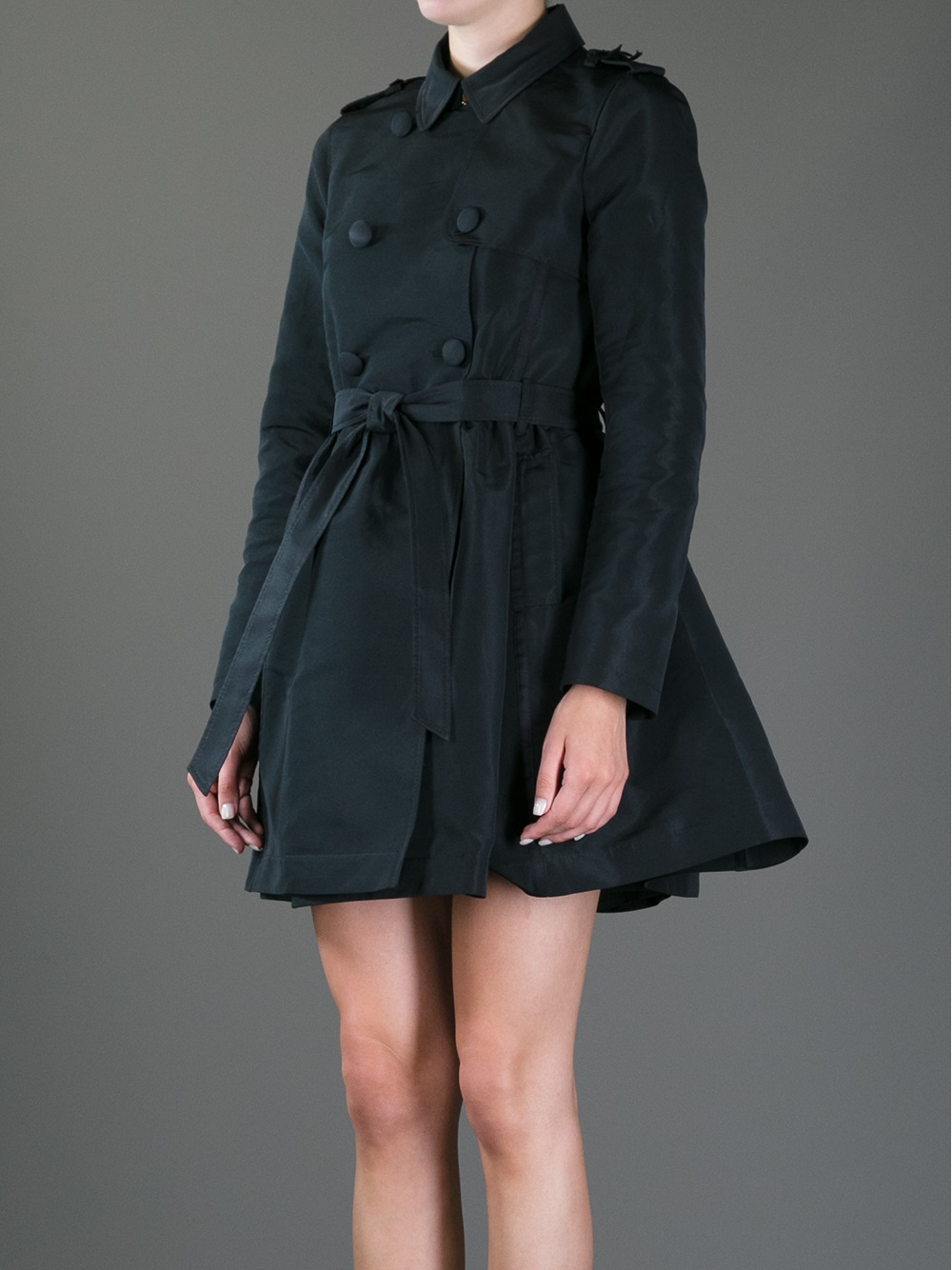 Lyst Red Valentino Trench Coat Dress In Gray
