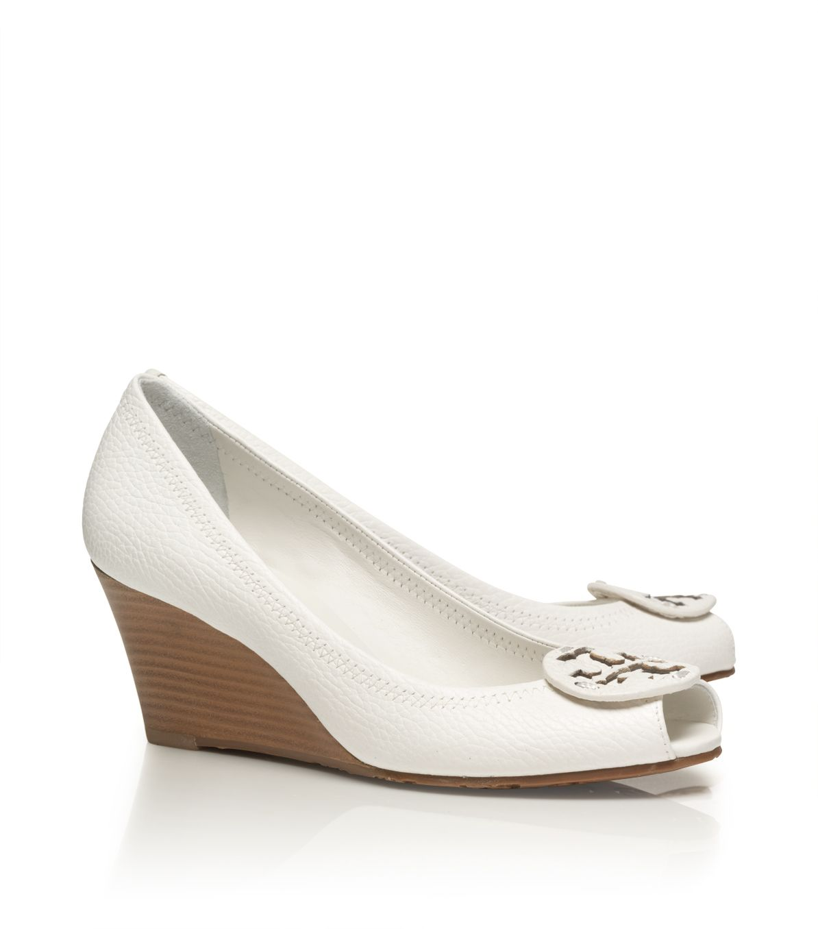 9dab6aec6eb4 Lyst - Tory Burch Tumbled Leather Sally 2 Wedge in Natural