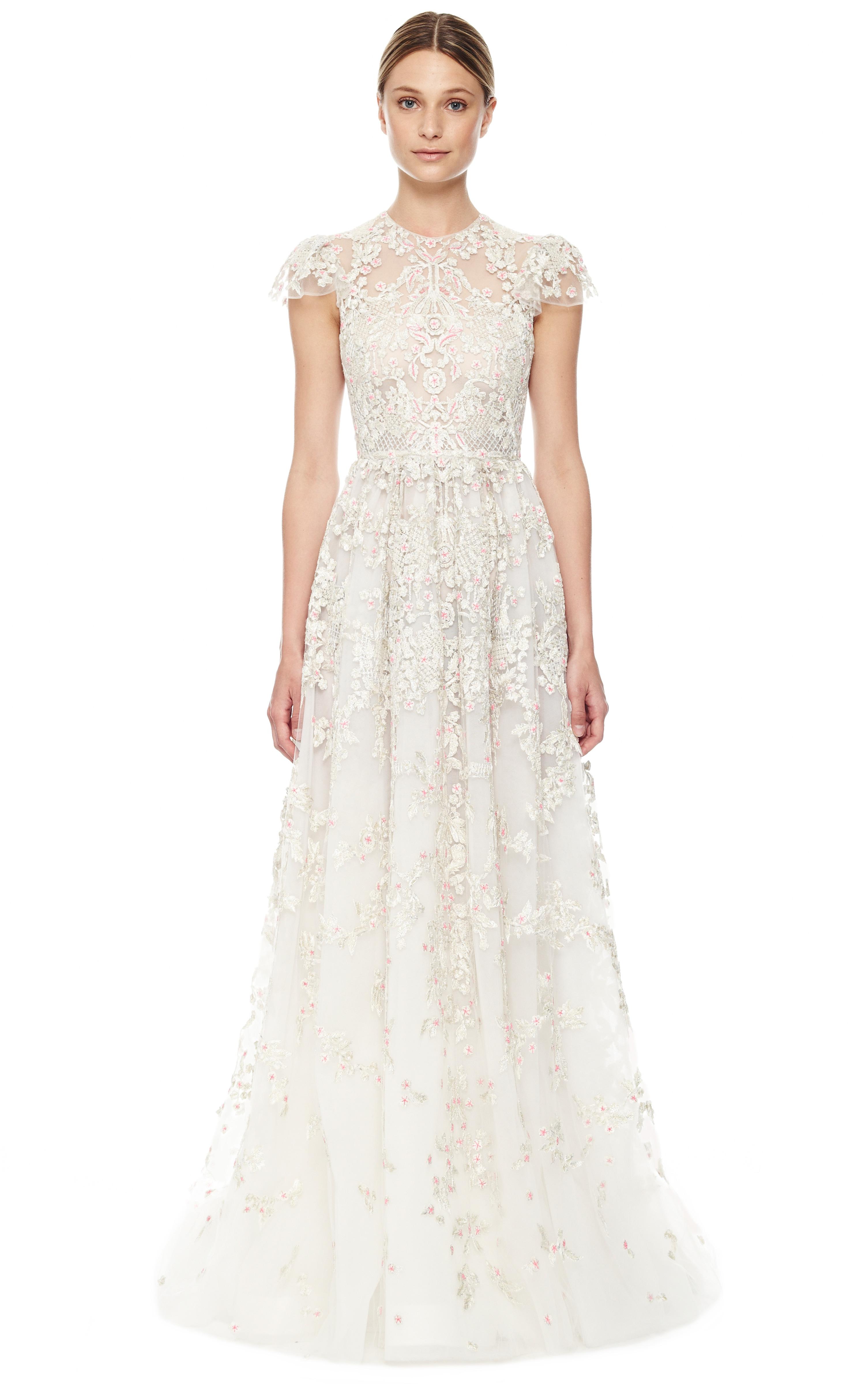 Lyst - Valentino Avorio Multi Tulle Illusione Gown in White