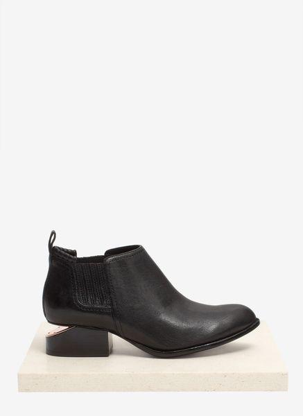 alexander wang cutout heel leather booties in black lyst. Black Bedroom Furniture Sets. Home Design Ideas