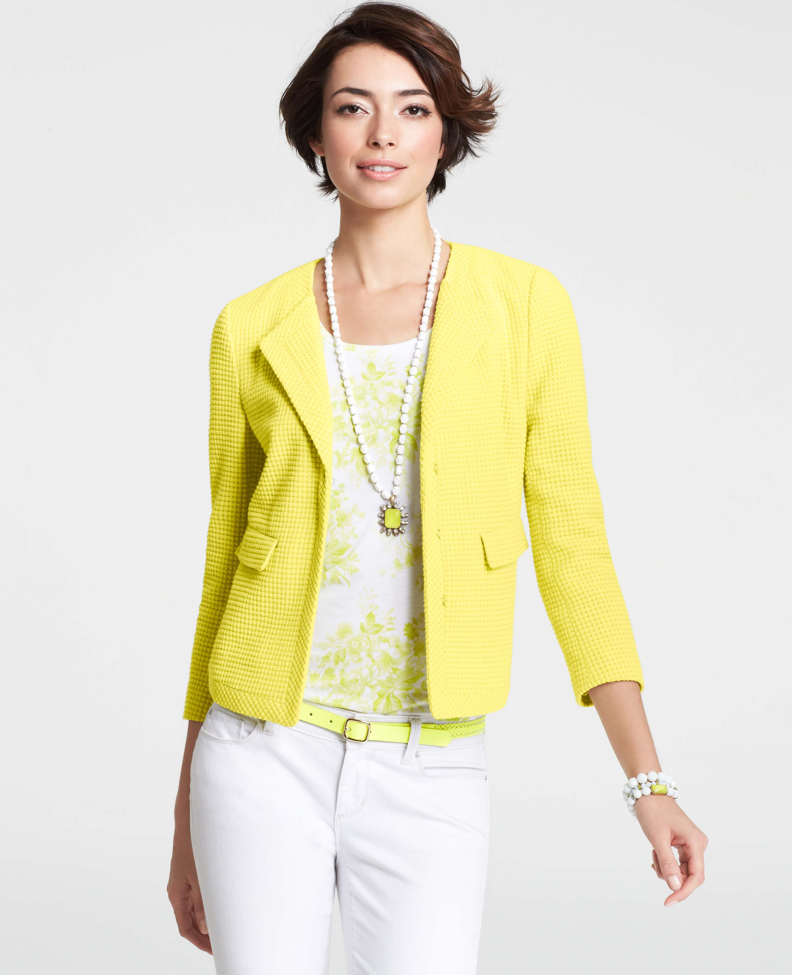 Ann taylor Cotton Boucle Cardigan Jacket in Yellow   Lyst