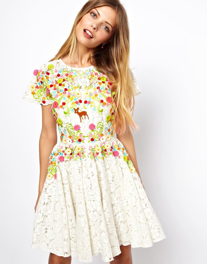 0424ece58318 ASOS Salon Embroidered Skater Dress in White - Lyst