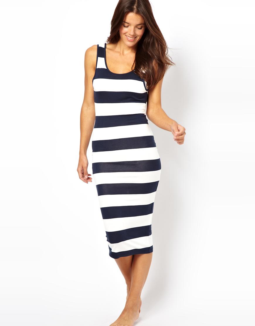 Lyst Asos Stripe Midi Vest Beach Dress In Blue
