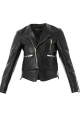 Balenciaga Quilted Shoulder Leather Biker Jacket - Lyst