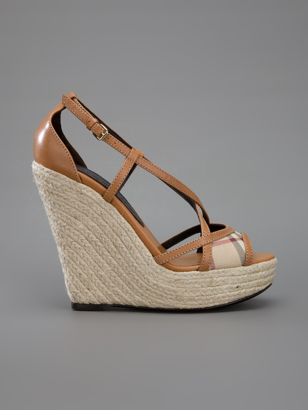 55f8da62732 Lyst - Burberry Lanyard Wedge Sandal in Brown