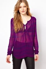 By Zoé Printed Blouse with Long Sleeves - Lyst