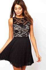 Asos Lace Skater Dress with Pleated Skirt - Lyst