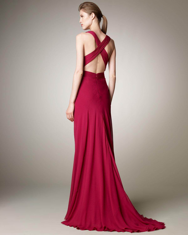 Lyst - J. Mendel Plunge-neck Chiffon Gown in Purple