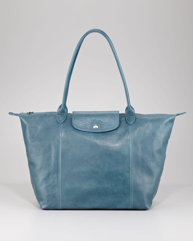 b5da99d38a99 Lyst - Longchamp Le Pliage Cuir Shoulder Tote Bag in Metallic
