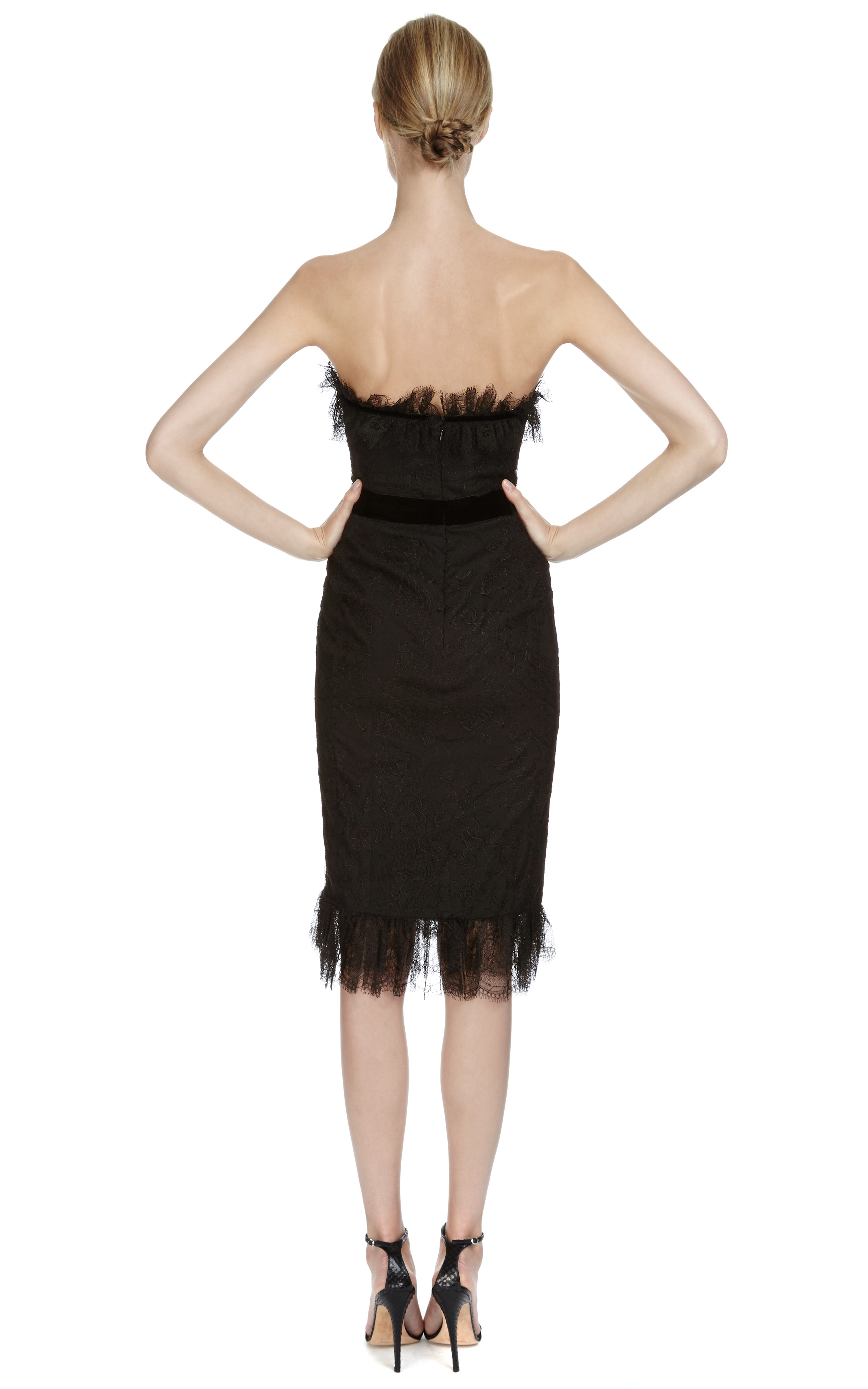 Lyst Marchesa Chantilly Lace Corset Dress In Black