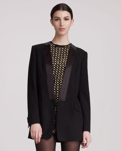 Balmain Openfront Tuxedo Jacket in Black (BLACK W GOLD)