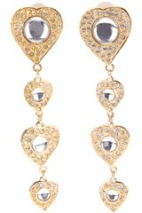 Yves Saint Laurent Vintage Glittering Heart Earrings - Lyst