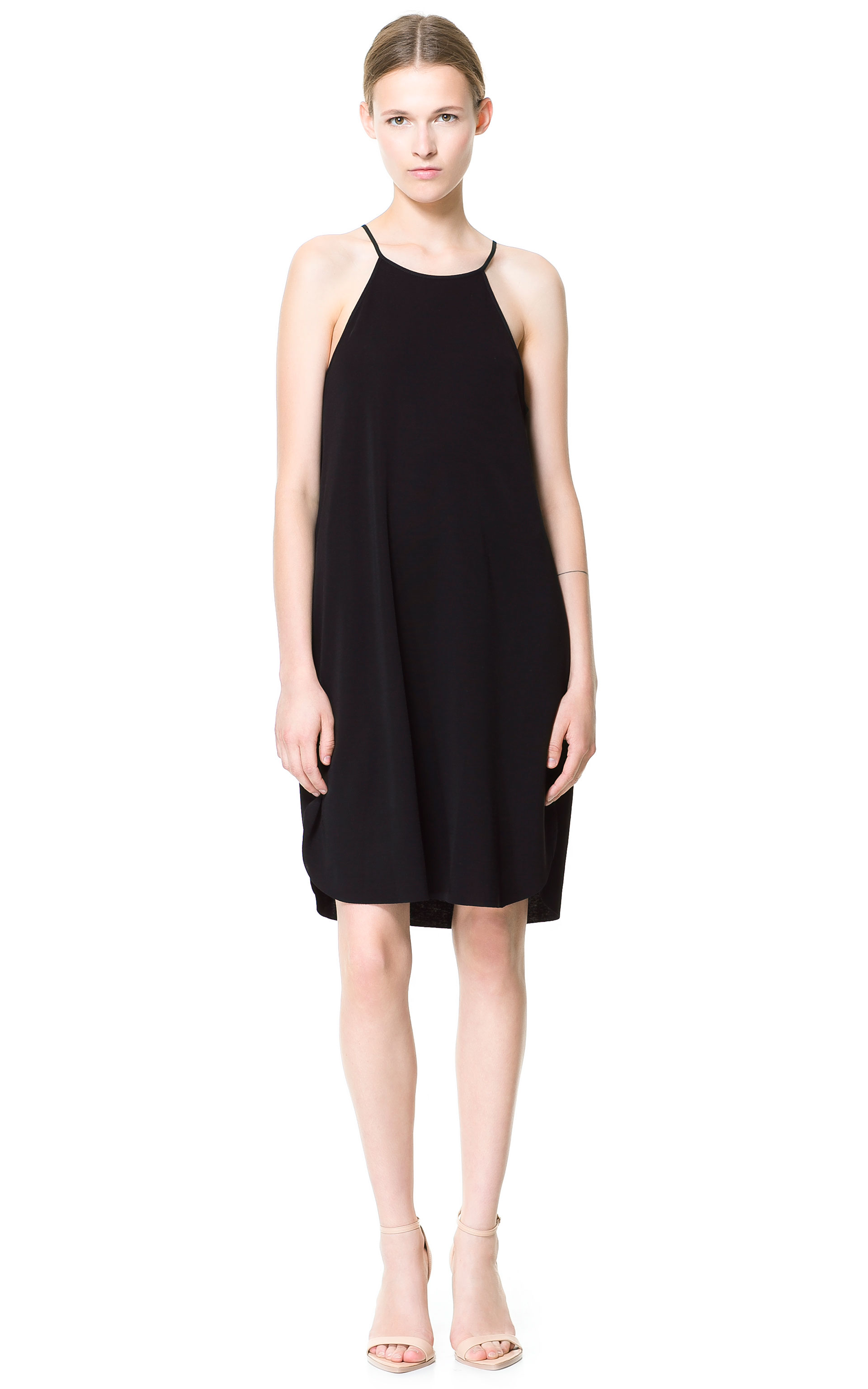 Zara Halter Neck Dress in Black | Lyst