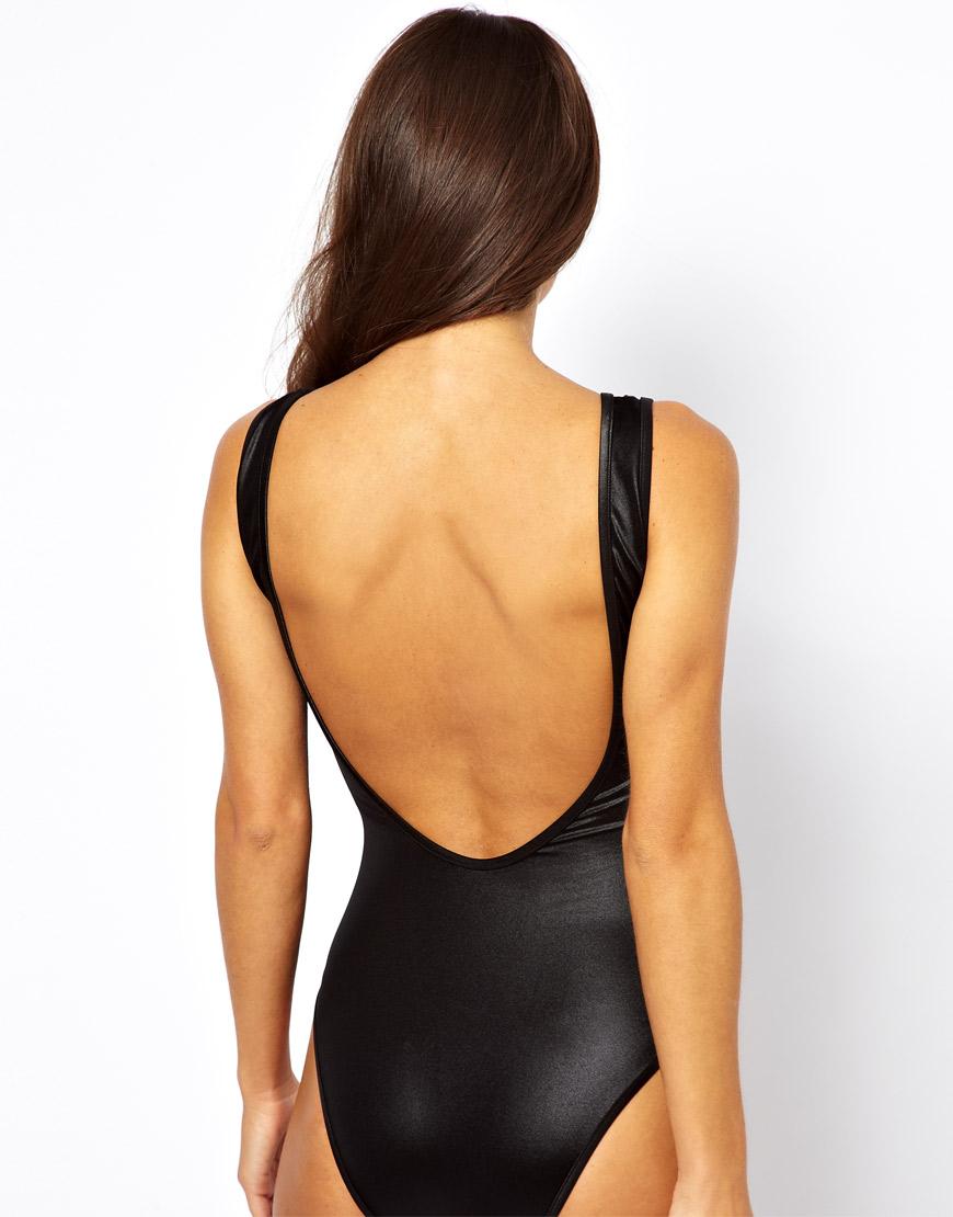 sheer one piece swimsuits gallery lyst asos wetlook plunge swimsuit in black