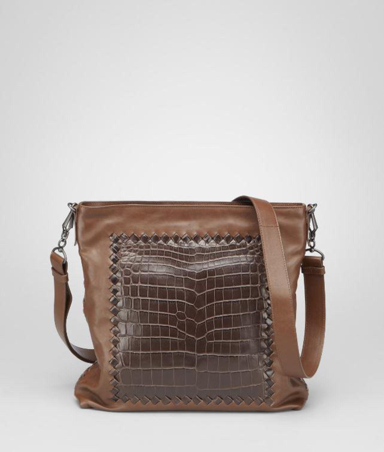 7742178a047e Bottega Veneta Light Calf Soft Crocodile Fume Cross Body Bag in ...