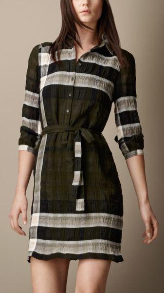 Burberry Cotton Blend Check Shirt Dress In Green Khaki