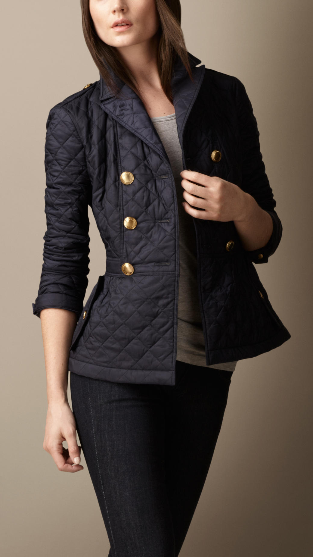Lyst Burberry Quilted Peplum Jacket In Black