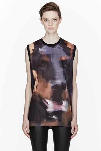 Givenchy Black Doberman Print Tank Top - Lyst