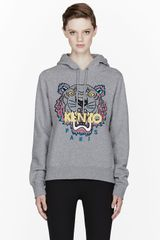 Kenzo Grey Multicolor Embroidered Tiger Hoodie - Lyst