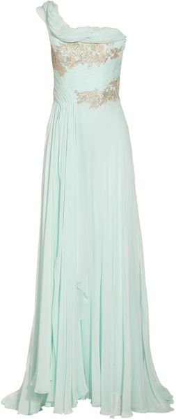 Marchesa One shoulder Appliquéd Silk chiffon Gown - Lyst