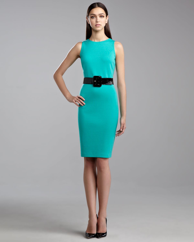 Lyst - St. John Milano Knit Sleeveless Sheath Dress in Green