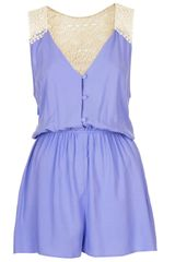 Topshop Bluebell Crochet Back Playsuit - Lyst