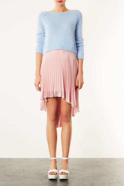 topshop pink shimmer pleated skirt in pink pale pink lyst