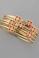Tory Burch Red Enamel Logo Square Bangles Set Of 7 - Lyst