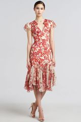 Zac Posen Hibiscus Print Flared Dress - Lyst