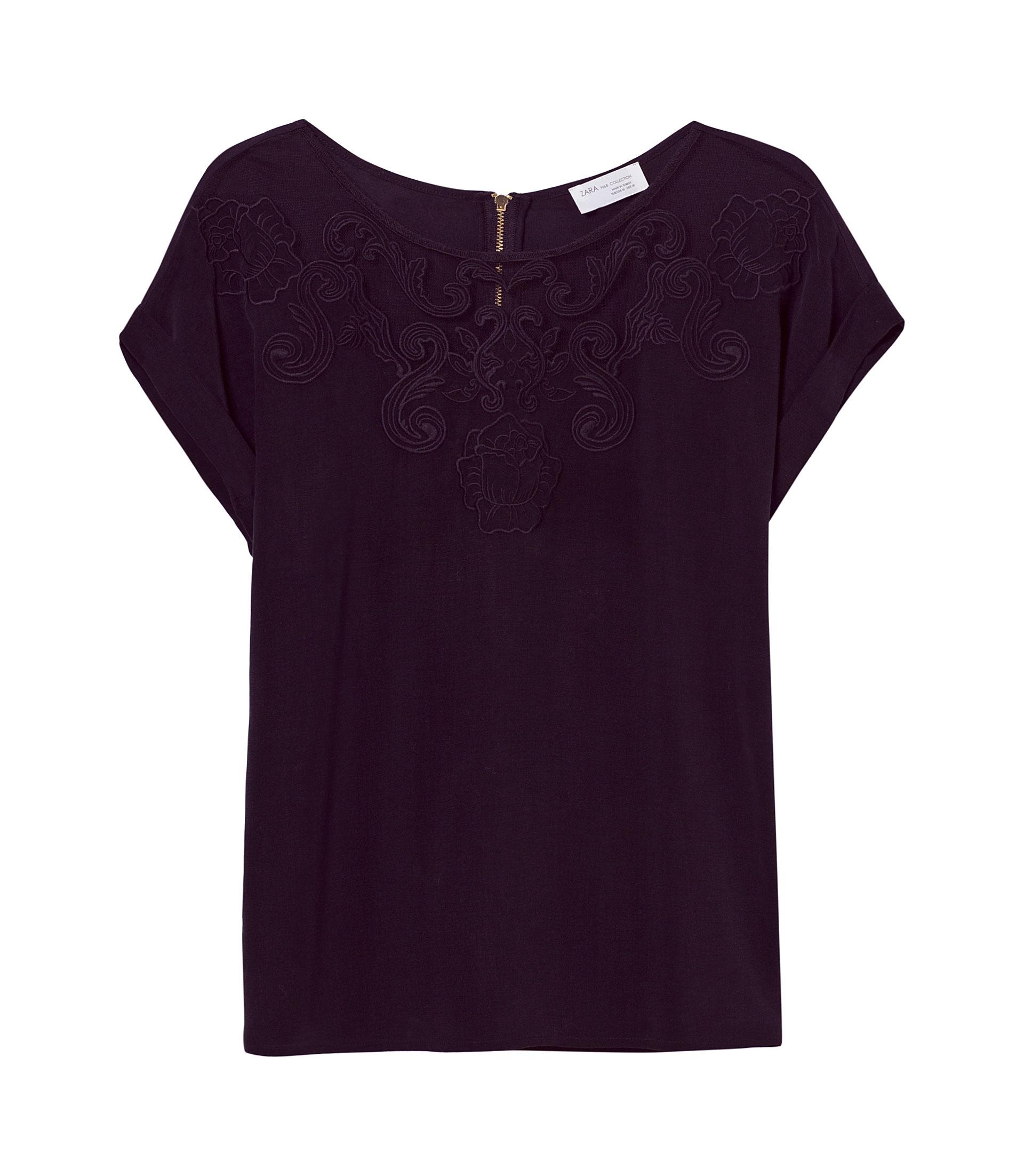 Zara embroidered tshirt in purple black lyst
