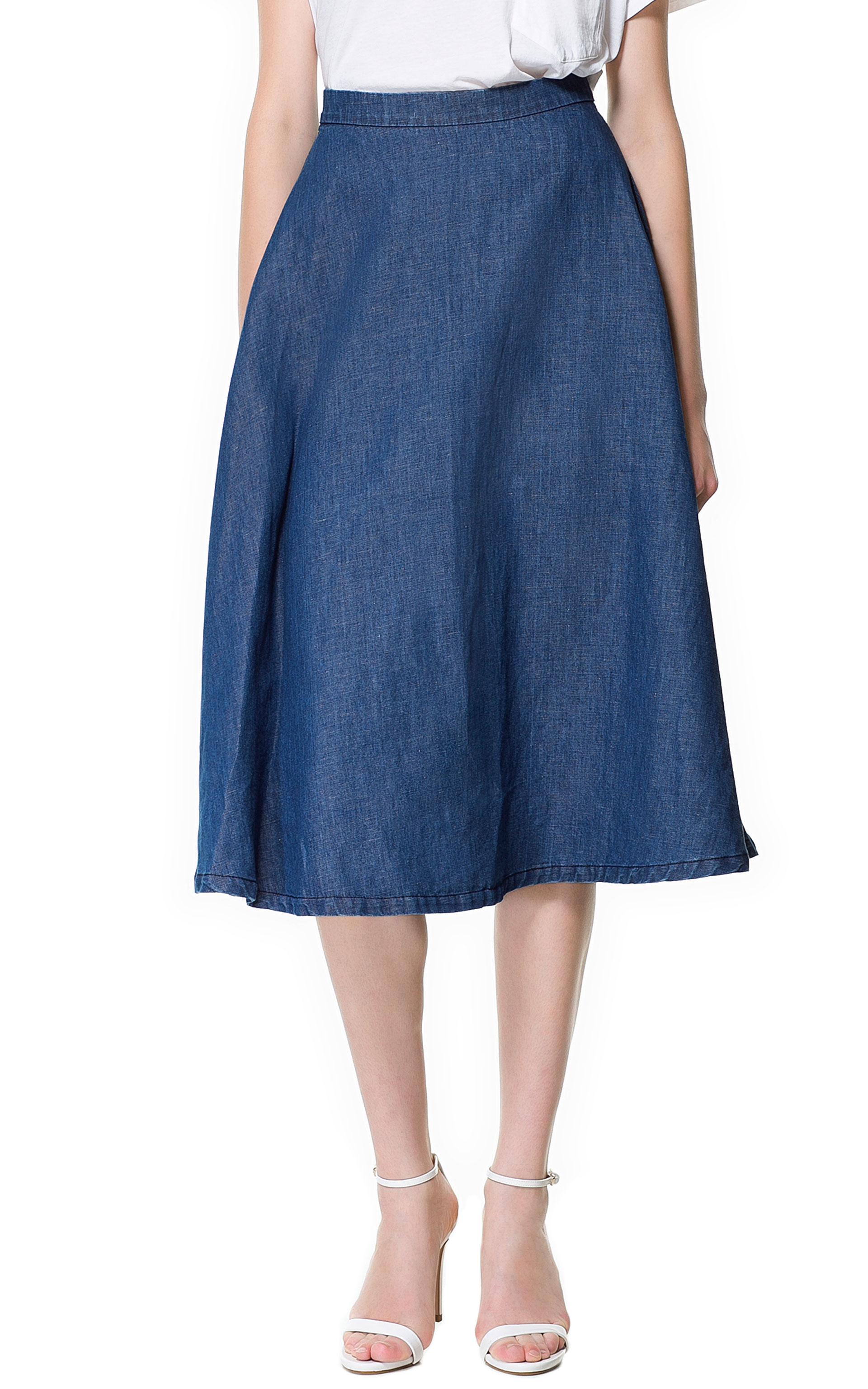 zara denim midi skirt in blue lyst