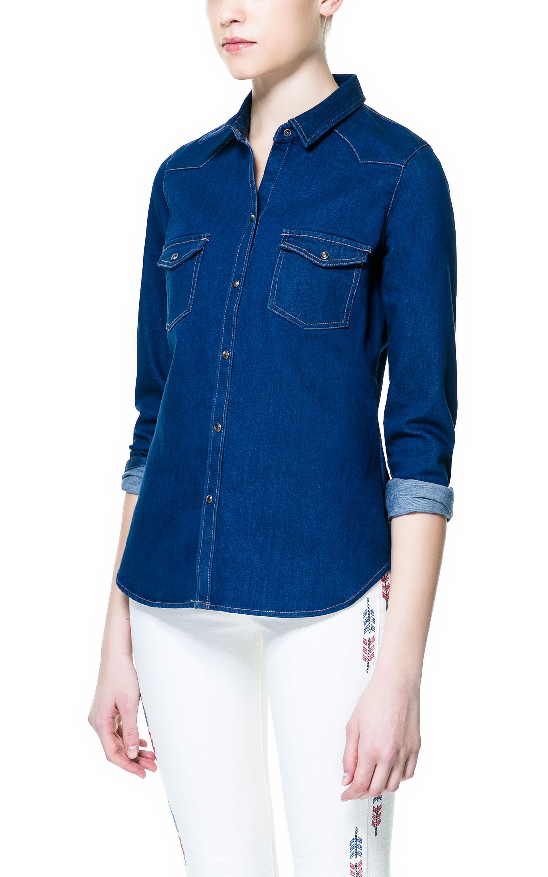 Zara denim shirt in blue lyst for Zara mens shirts sale