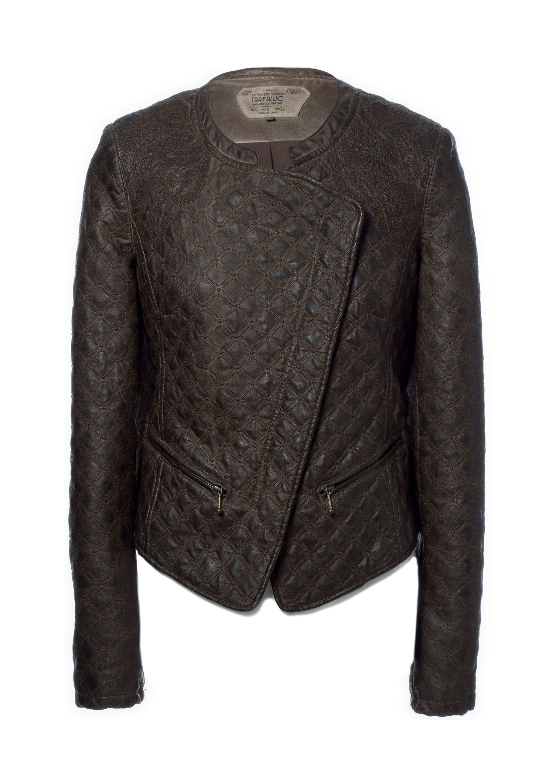 Zara embroidered faux leather jacket in brown lyst
