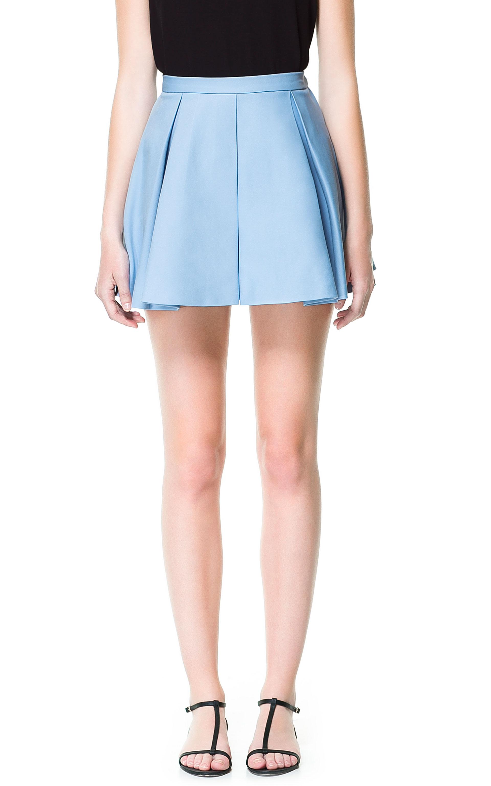 Zara Pleated Mini Skirt in Blue | Lyst
