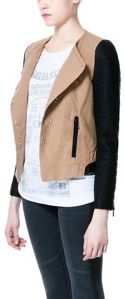 Zara Combination Biker Jacket - Lyst