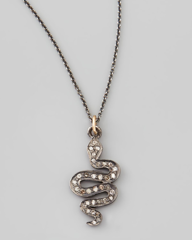 zoe chicco black snake pendant necklace in black
