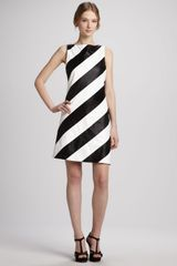 Alice + Olivia Alice Olivia Paige Striped Leather Shift Dress - Lyst