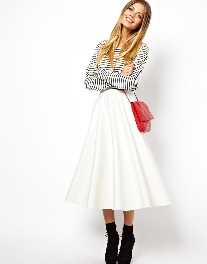 Asos Full Midi Skirt in Scuba in White | Lyst
