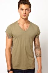 Asos Asos T-shirt with V Neck and Roll Sleeve - Lyst